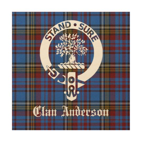 Clan Anderson Crest Tartan Wood Wall Art