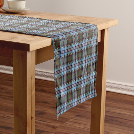Clan Anderson Light Blue Scottish Tartan Short Table