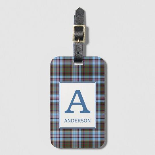 Clan Anderson Tartan Monogrammed Luggage Tag