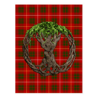 Clan Bruce Tartan And Celtic Tree Of Life Postcard