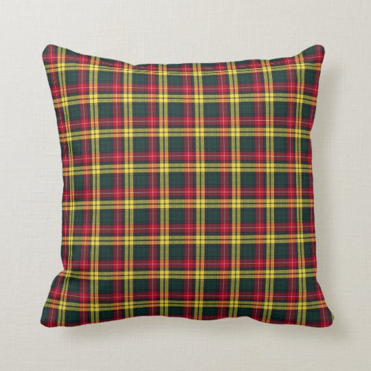Clan Buchanan Green, Yellow, and Red Tartan Cushion
