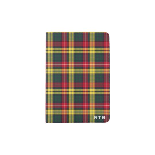 Clan Buchanan Red, Yellow & Green Tartan Monogram