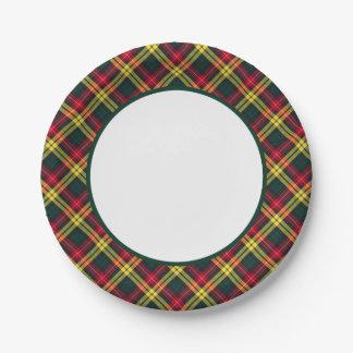 Clan Buchanan Tartan Border 7 Inch Paper Plate