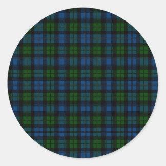 Clan Campbell Military Tartan Round Sticker