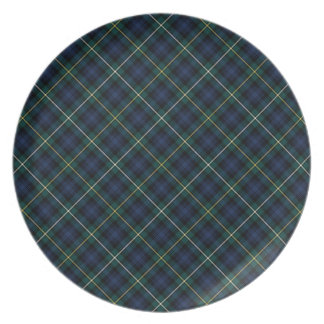 Clan Campbell Navy Blue and Green Scottish Tartan Dinner Plate