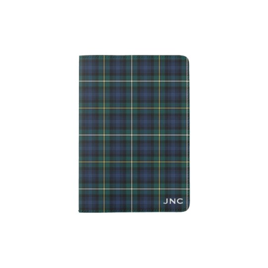 Clan Campbell Navy Blue and Green Tartan Monogram