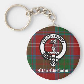Clan Chisholm Tartan & Crest Badge Basic Round Button Key Ring