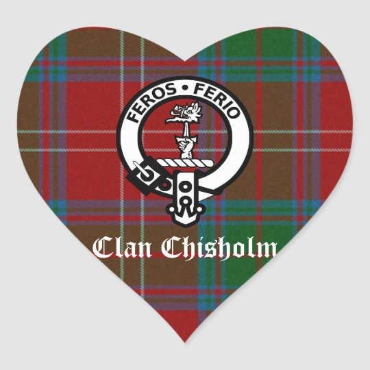 Clan Chisholm Tartan & Crest Badge Heart Sticker