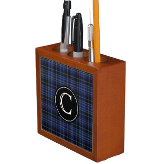 Clan Clark Plaid with Monogram Desk Organizer