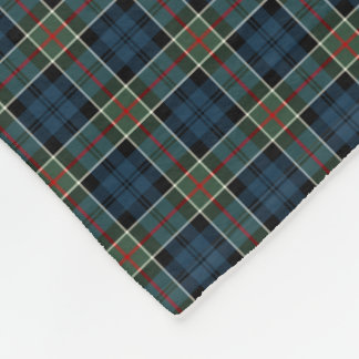 Clan Colquhoun Navy Blue and Red Tartan Fleece Blanket