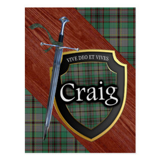 Clan Craig Tartan Sword & Shield Postcard