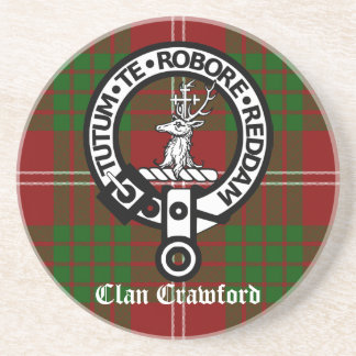 Clan Crawford Crest Tartan Coaster