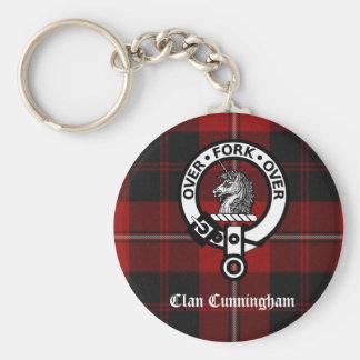 Clan Cunningham Badge & Tartan Basic Round Button Key Ring