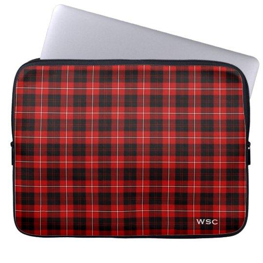 Clan Cunningham Tartan Red Plaid Monogram Laptop Sleeve