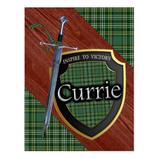 Clan Currie Tartan Sword & Shield Postcard