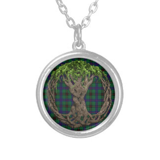 Clan Davidson Tartan And Celtic Tree Of Life Silver Plated Necklace
