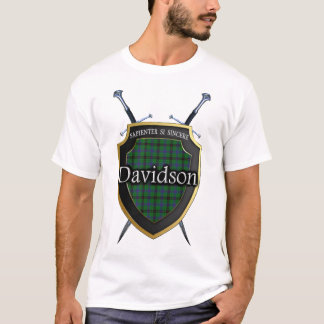 Clan Davidson Tartan Plaid Shield & Swords T-Shirt