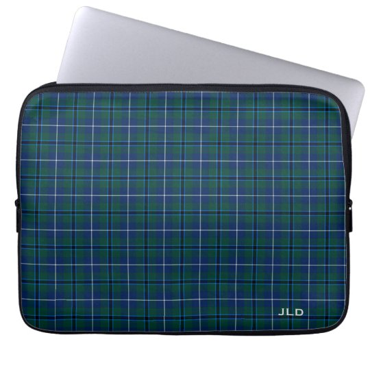 Clan Douglas Tartan Blue and Green Plaid Monogram