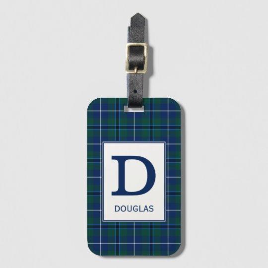 Clan Douglas Tartan Monogrammed Luggage Tag
