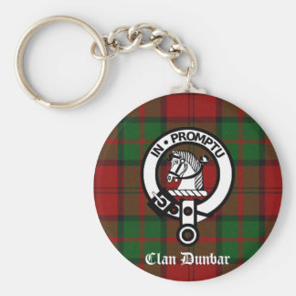 Clan Dunbar Tartan & Crest Badge Basic Round Button Key Ring