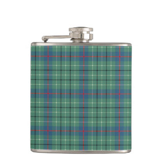 Clan Duncan Light Green and Blue Ancient Tartan Hip Flask