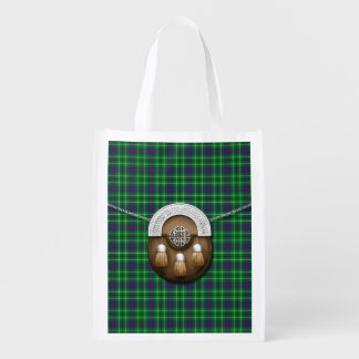 Clan Duncan Tartan And Sporran Reusable Grocery Bag