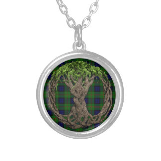 Clan Dundas Tartan And Celtic Tree Of Life Silver Plated Necklace