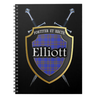 Clan Elliott Tartan Shield & Swords Notebook