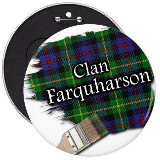 Clan Farquharson Tartan Paint Brush 6 Cm Round Badge