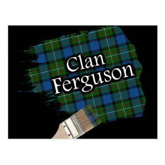 Clan Ferguson Scottish Tartan Paint Brush Postcard