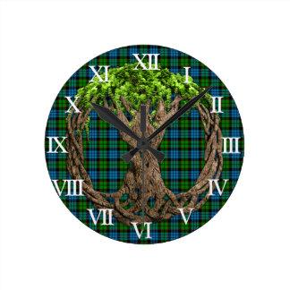 Clan Fletcher Tartan And Celtic Tree Of Life Clock