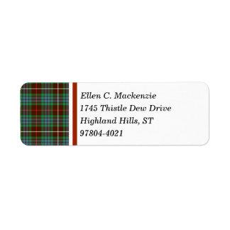 Clan Fraser Hunting Tartan Return Address Label