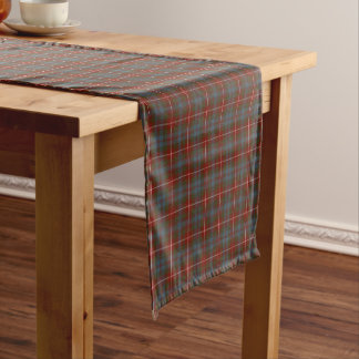 Clan Fraser of Lovat Dark Red Reproduction Tartan Short Table Runner