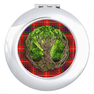 Clan Fraser Tartan And Celtic Tree Of Life Compact Mirror