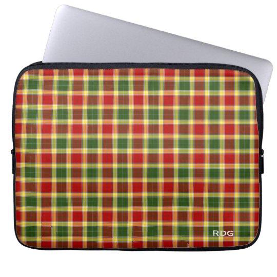 Clan Gibbs and Gibson Tartan Monogrammed Laptop Sleeve
