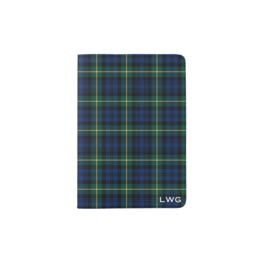 Clan Gordon Blue and Green Tartan Monogram Passport