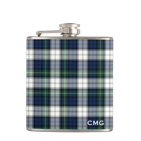 Clan Gordon Dress Tartan Monogrammed Hip Flask