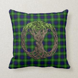 Clan Gordon Tartan And Celtic Tree Of Life Cushion