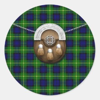 Clan Gordon Tartan And Sporran Round Sticker