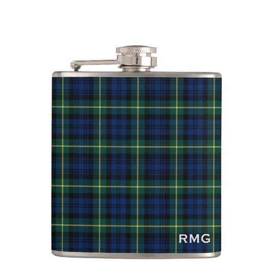 Clan Gordon Tartan Monogrammed Hip Flask