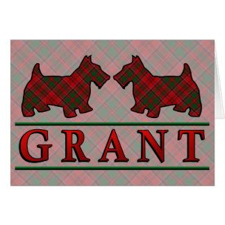 Clan Grant Tartan Scottie Dogs Card