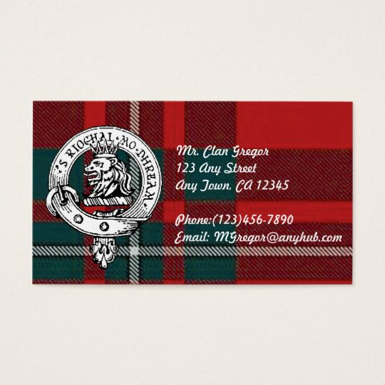 Clan Gregor Business Cards Customise to your infor