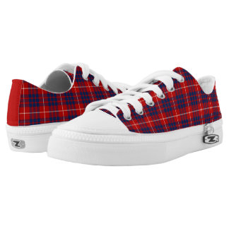 Clan Hamilton Bright Blue and Red Tartan Canvas Low Tops