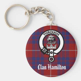 Clan Hamilton Crest & Tartan Basic Round Button Key Ring