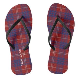 Clan Hamilton Plaid Personalized Flip Flops