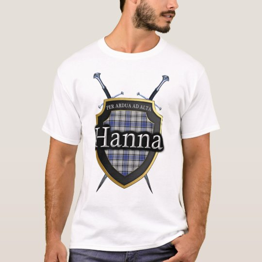 Clan Hanna Hannay Tartan Plaid Shield & Swords