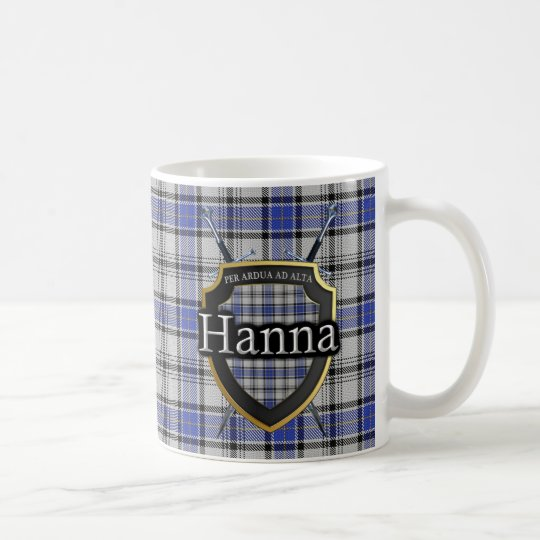 Clan Hanna Hannay Tartan Shield Crossed Swords Coffee