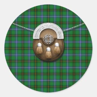 Clan Henderson Tartan And Sporran Round Sticker