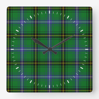 Clan Henderson Tartan Square Wall Clock