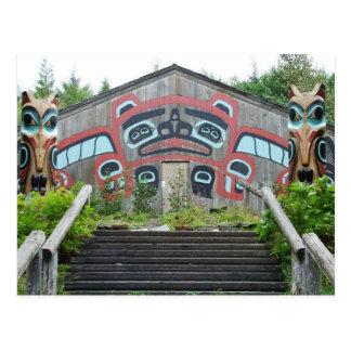 Clan house and totem poles, Ketchikan, Alaska Postcard